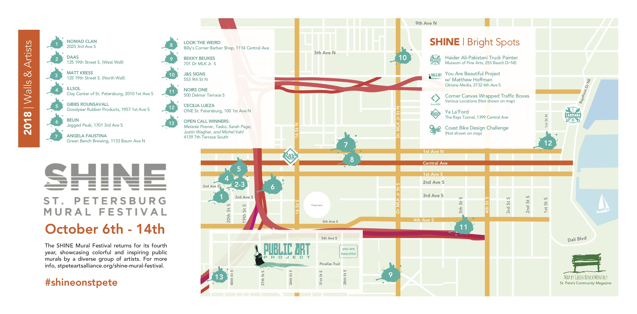 2018 SHINE St. Pete Mural Festival Map